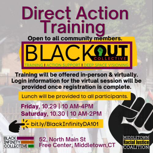 Direct Action training flyer with information about the training and the link to apply. The information on the flyer is also on this webpage.